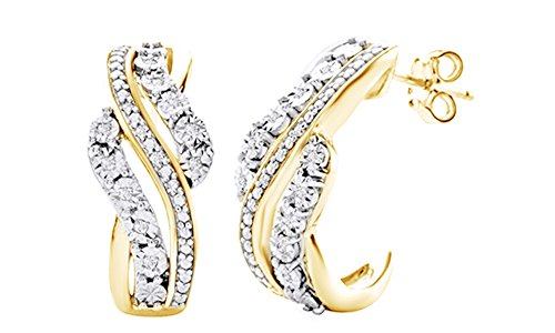 White Natural Diamond Accent Swirl J-Hoop Hoop Earrings In 14K Yellow Gold Over Sterling Silver