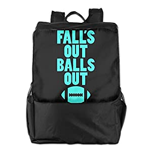 Rongyingst Fall's Out Balls Out Football Messenger Bag Shoulder Backpack Travel Hiking Rucksack For Womens Mens Boys Girls School Bookbags One Size