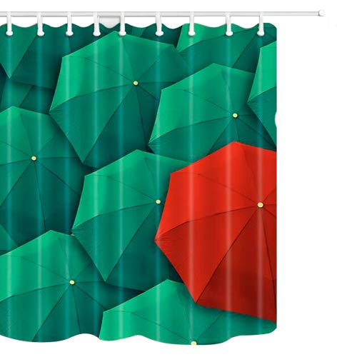 Ohlyah Fabric Shower Curtain Mildew Resistant with Umbrella Design Decor for Bathroom, Waterproof and 12 Hooks, Green (Multi2, 69 W by 70 L)