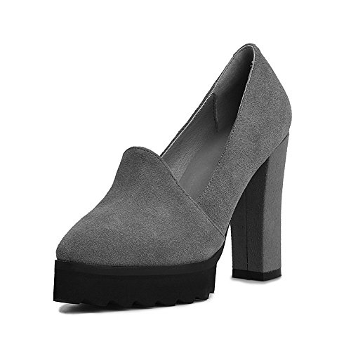 Shoes Closure Womens Pumps SDC03567 Pointed AdeeSu Comfort Gray No Leather Toe 68Xa4nW