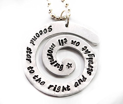 Peter Pan Jewellery - Hand Stamped Spiral Pendant - Second Star to the Right, Peter Pan Inspired jewelry, a Foxwise Original