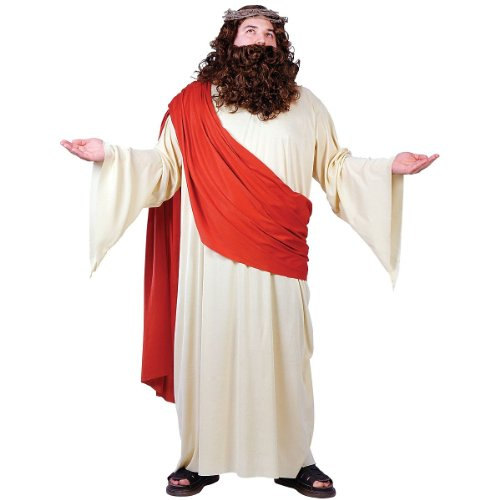 FunWorld Men's Plus Jesus Costume, Cream/Red, Plus Size