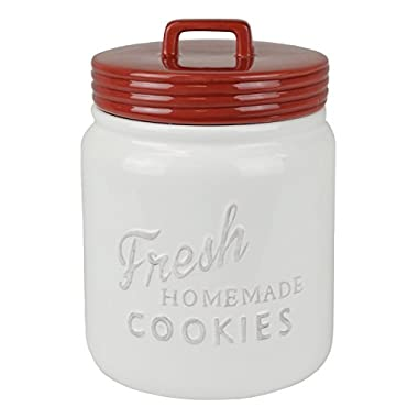 DII Everyday Classic Kitchen Design Ceramic Cookie Jar With Lid - Red