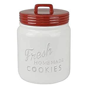 DII Vintage, Retro, Farmhouse Chic Mason Jar Inspired Ceramic Kitchen Canister, Cookie Jar With Airtight Lid For Food Storage, Store Cookies, Crackers, Chips and More - Red