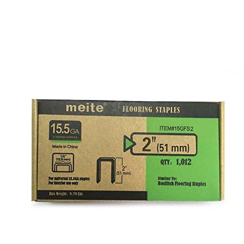 meite 15-1/2 Gauge 1/2-Inch Crown by 2-Inch Leg Length Hardwood Flooring Staples 1012 PCS/ Box (2' Pneumatic Flooring Stapler)