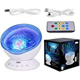 Remote Control Ocean Wave Projector 12 LED 7 Colours Night Light with Built-in Mini Music Player for Living Room and Bedroom