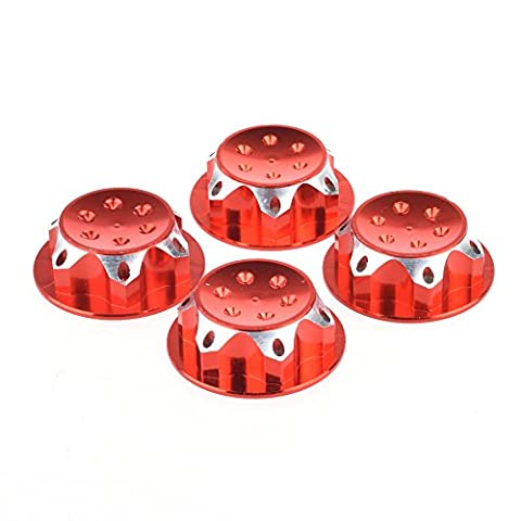 17MM Dust Lock Nut Adapter For 1/8 Buggy/Truck WHEEL RC HPI LOSI HB AE MUGEN TEAM C Red - 1/8 Buggy