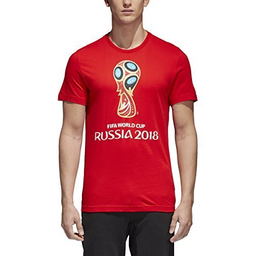 adidas World Cup Soccer World Cup Emblem Mens Tee, X-Large, Red