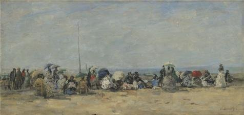 Oil Painting 'Eugene Boudin - Beach Scene, Trouville,about 1860-70' Printing On High Quality Polyster Canvas , 20x42 Inch / 51x107 Cm ,the Best Bedroom Artwork And Home Gallery Art And Gifts Is This Amazing Art Decorative Prints On Canvas