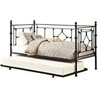 Homelegance Auberon Metal Daybed with Trundle and Quatrefoil Carving Frame with Finial Posts, Black, Twin
