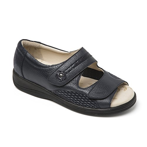 Graceful 4E Leather Wide Sandals 5 Padders UK Navy 3E Extra Ladies 4 pwdgFqg