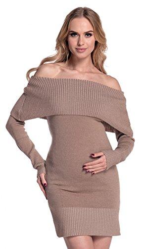 spalle Happy scollo Vestito e maglia scoperte 909p Mama Cappuccino Bardot Prémaman Donna A847AFr