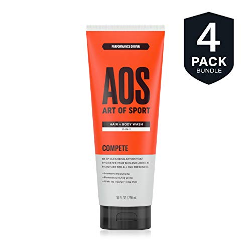 Art of Sport Hair and Body Wash (4-Pack) with Tea Tree Oil and Aloe Vera, Compete Scent, 2-in-1 Shampoo and Shower Gel, Use as Body Soap and Face Wash, 10 oz ()
