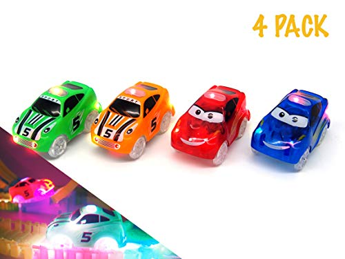 Light Up Toy Car 4 Piece Set | Glow in The Dark Racing Track Cars with 3 LED Lights Compatible with Most Tracks Including Magic Tracks for Boys and Girls -
