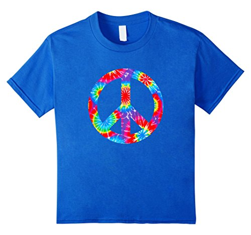 Tie Dye Flower Peace Sign T Shirt Hippy Costume 60s 70s