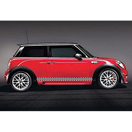 Mini cooper black white checkered vinyl stripes side skirt rocker panel stripes