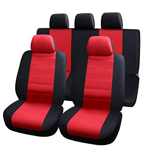 PinShang Car Seats Protector Seats Cover Elastic Mesh Material Composite 2mm Sponge Seats Cover 9-piece set - black red General model: