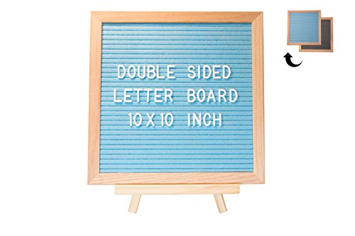 SIDED Grey and Aqua Marine Quality Felt, 10x10 inch Oak frame + wooden stand + EXTRA bold white letters 362pcs + canvas storage bag, Home or business sign office decorative (Premium Oak Trucks)