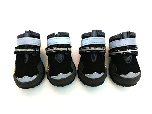 Xanday Breathable Dog Boots, Mesh Dog Shoes, Paw Protectors with Reflective and Adjustable Straps and Wear-resisting Soles,4pcs (5, Black) by Xanday