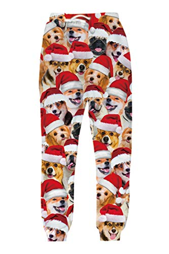 Belovecol Mens Womens Ugly Christmas Pants Dogs Santa Hat Funny 3D Xmas Print Joggers Sweatpants Casual Full Length Lightweight Baggy 80s Clothing for Gym Workout Sports Running Party S
