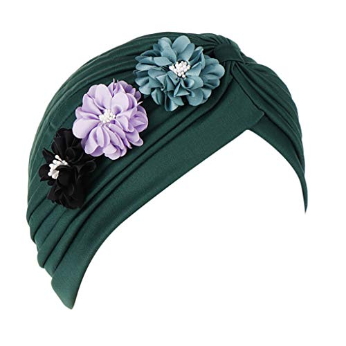 - Dressin Muslim Caps Women's Elegant Stretch Flower Solid Color Turban Chemo Cancer Cap Hat Headwear