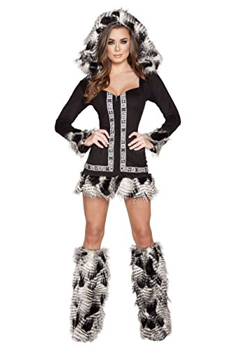 1 Piece Indian Princess Eskimo Fur Brown Dress With Hood -