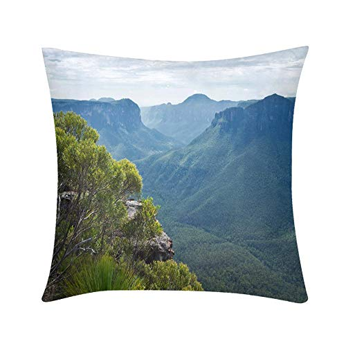 (Premium Hypoallergenic Stuffer Throw Pillow Pulpit Rock Lookout in Blue Mountains in Australia Design for Sofa Bedroom Office Car Decorate Pillow)