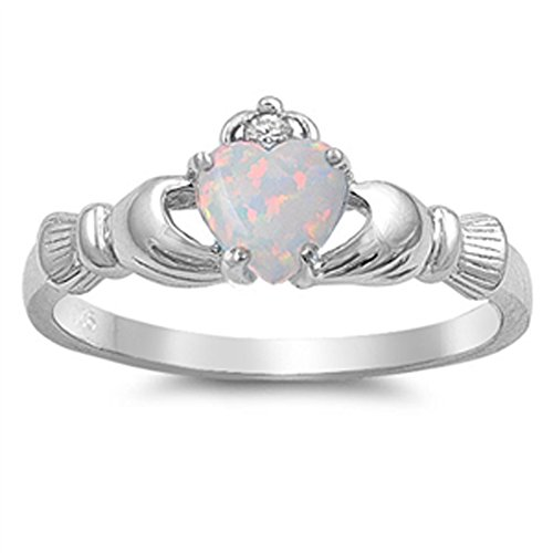 White Simulated Opal Promise Claddagh Cute Ring .925 Sterling Silver Band Size 10
