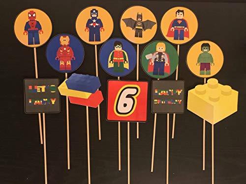 Lego Superheroes Centerpieces/Lego party/super heroes party supplies/super heroes inspired