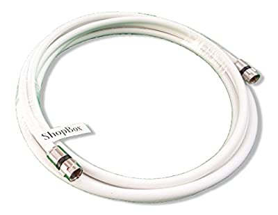 White RG-6 Coax 75 Ohm Cable (High Performance Solid Copper & UL Approved) for (Digital, CATV, Satellite TV, or Broadband Internet) (50 Foot) by ShopBox