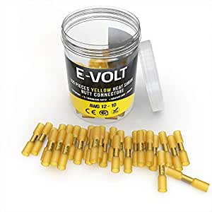 100 PC Yellow Heat Shrink Butt Crimp Connectors: 12 10 Gauge Bulk Waterproof Electrical Terminals - Insulated AWG Automotive, Marine, Audio, and Industrial Grade. Hot Melt Adhesive Butt Splice
