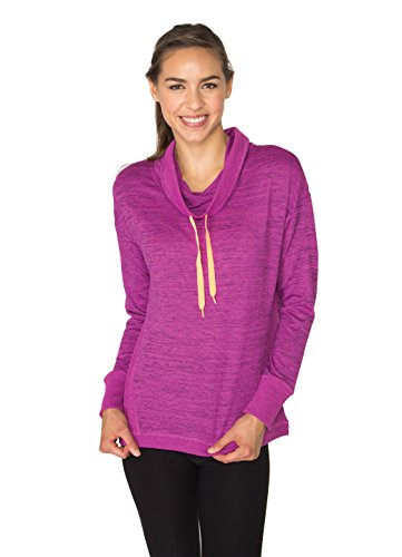 RBX Active Women's Lightweight Sweater Knit Cowl Neck Pullover with Ribbed Trim
