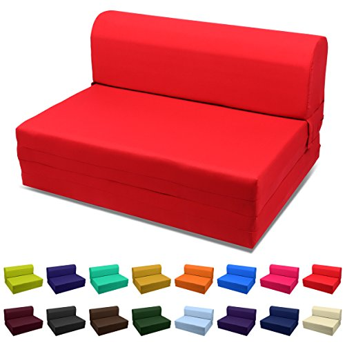 Magshion Futon Furniture Sleeper Chair Folding Foam Bed Choose Color & Sized Single,Twin or Full (Full (5x46x74), Red) - Full Futon Sleeper