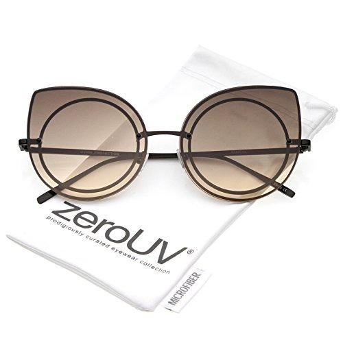 zeroUV - Women's Oversize Rimless Colored Gradient Flat Lens Cat Eye Sunglasses 63mm (Black / Brown (Cheap Coloured Contact Lenses)