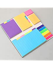 402 Sheets Divider Sticky Notes Set, Colored Lined Self-Stick Notes Pads Bundle, 25 Per PET Color, 60 Ruled (3.7x6), 48 Blank (3x3.7), 48 Per Rectangular, 48 Dotted (3.7x3)