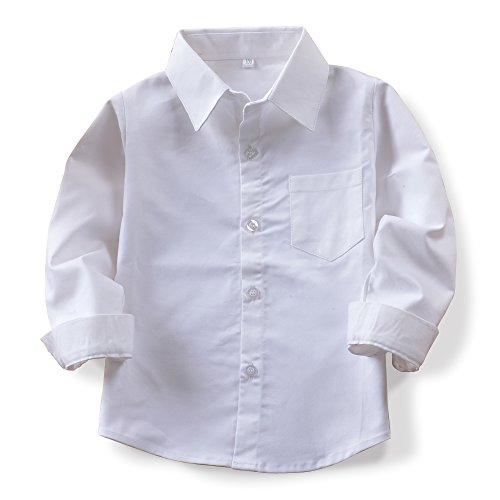 OCHENTA Little Big Kids Boys' Long Sleeve Button Down Oxford Shirt N005 White Tag 130CM - 5 Year