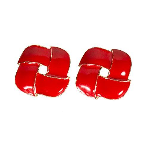 (Stylish Red Goldtone Earrings Enamel Intertwining Rhombus Diamond Jewelry (Red))