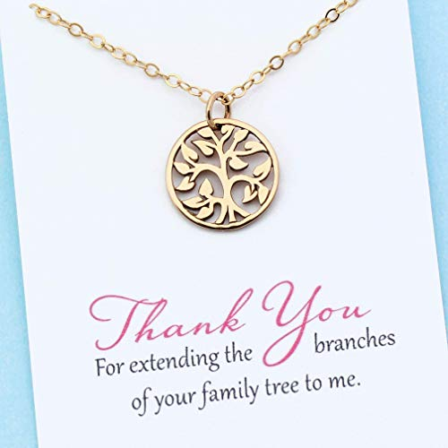 (Unbiological Mom Jewelry • Personalized Gift for Mother In Law • Stepmom • Foster Mother • 14k Gold Filled Chain • Family Tree)