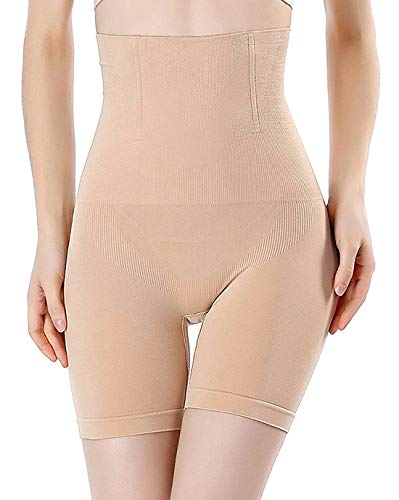 FLORATA Womens Shapewear Tummy Control Shorts Brilliance High-Waist Panty Mid-Thigh Body Shaper Bodysuit, Beige (Thigh Slimmer), X-Large / -