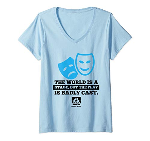 Directors Showcase Cotton - Womens World Is a Stage Theatre Masks Cute Actor Gift V-Neck T-Shirt