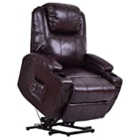 Giantex Electric Power Lift Recliner Chair for Elderly PU Leather Padded Seat with Remote & Cup Holder Living Room Chair (Brown)