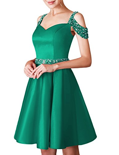 8adc8eb0d83 Jicjichos Women s Short Beaded Prom Dress Off The Shoulder Backless Cocktail  Dress with Pocket BBON001