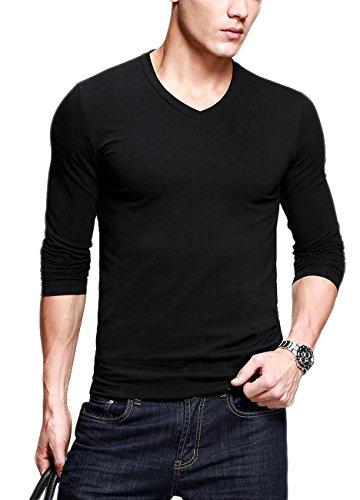 Mens T-Shirts Long Sleeves Cotton Slim V-Neck Black