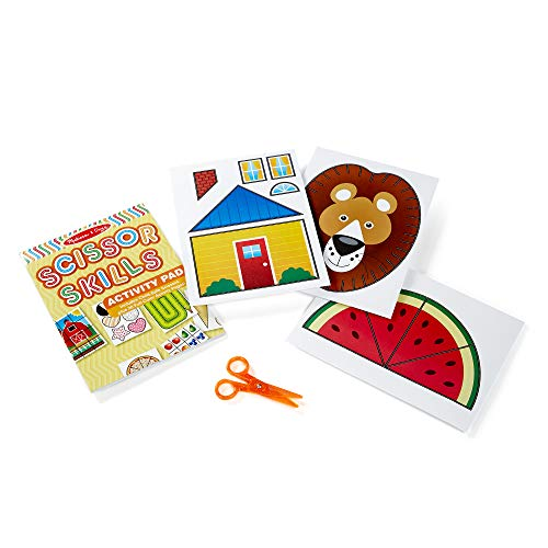 Melissa & Doug Scissor Skills Activity Book (Animal & People Play Set, Pair of Child-Safe Scissors Included, 20 Pages, Great Gift for Girls and Boys - Best for 4, 5, 6, and 7 Year Olds) (Toys To Help With Fine Motor Skills)