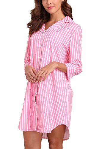 (Giorzio Womens Cotton Nightgown Button Down Striped Boyfriend Sleep Shirt Pink Stripe L)