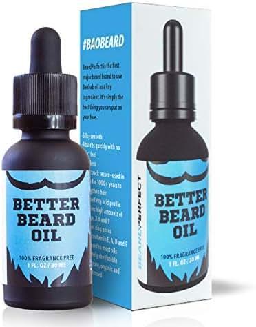 BeardPerfect BETTER BEARD OIL - End Beard Dander and Grow Your Best Beard - 100% Fragrance Free - All Organic Ingredients - Tame your Mane with Jojoba, Argan, and Baobab Oils - 100% Pure