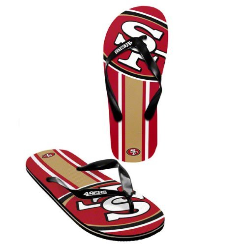 SF 49ers official NFL Unisex Flip Flop Beach Shoes Sandals slippers size large by forever