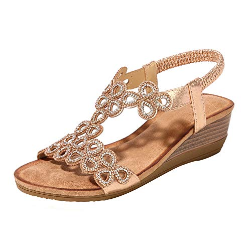 Desirepath Wedge Shoes for Women Open Toe 2019 Summer Elastic Strap Comfort Sandals Low Heels Champagne