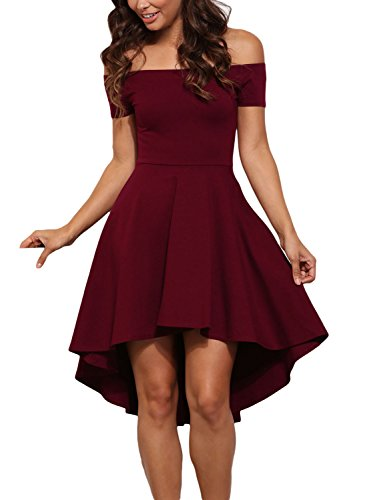 LOSRLY Womens Vintage Fit and Flare Bridesmaid Dress Plus Size Burgundy Wine XXL 18 20