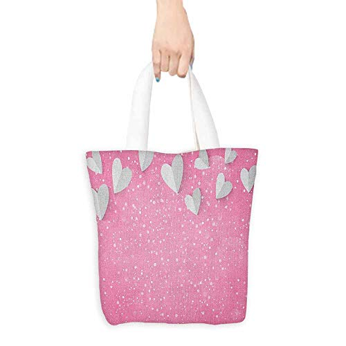 Craft canvas bag Pink and White 3D Style Hearts As Butterfly Wings Tender Magical Spring Love in the Air Daily wallet handbag 16.5